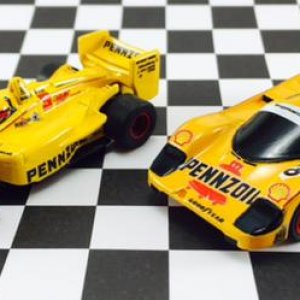 Pair of Mega G Pennzoil customs by Super G Man. I added the chassis w/ painted red wheels. Indy Car - I got on a visit to SGM's recently. Porsche 962