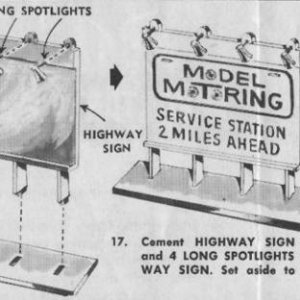 658 HO GAS STATION HIGHWAY SIGN BASE LONG SPOTLIGHTS
