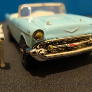 Headlights  and badge on the matchbox '57 Chevy