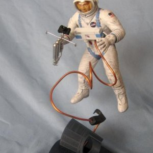 Revell Ed White space walk re-pop. I added a copper umbilical and epoxy storage bag.