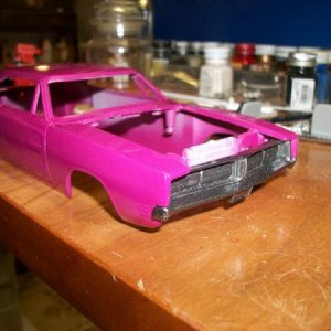 "69 Dodge Charger, was a die-cast ""General Lee"" bought from a yard sale for 50 cents, and it was all scratched up, and I wasgoing to restore"