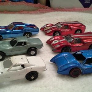 3 different Marx C3 Corvettes on left