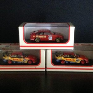 1:64 scale Shell Team Fords 1992 John Bowe Sierra on top of 2002 Steven Johnson Falcon and 2002 Paul Radisich Falcon