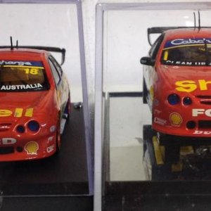 1:43 scale 2002 DJR Shell AU Ford Falcons. Biante (L) and Classic Carlectables (R) V8 Supercars  Driver: Paul Radisich