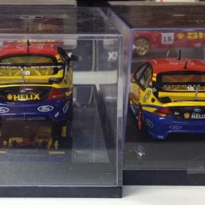 1:43 scale 2002 DJR Shell AU Ford Falcons. Classic Carlectables (L) and Biante (R) V8 Supercars  Driver: Paul Radisich