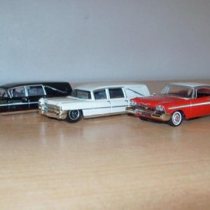 '66 Cadliac hearses and '58 Plymouth 1/64